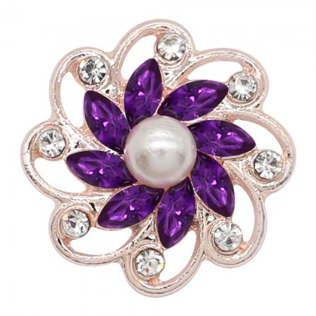 20MM flowers snap Rose Gold Plated with purple rhinestone And pearls KC9264 charms snaps jewelry