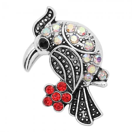 20MM design Bird metal silver plated snap with colorful rhinestone KC9295 charms snaps jewelry