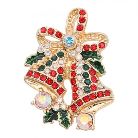 Christmas 20MM Bell snap gold Plated With colorful red and green rhinestones enamel KC8106 charms snaps jewelry