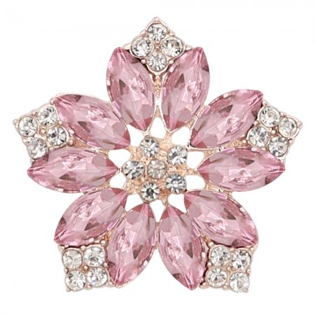 20MM flowers snap Golden Plated with  Pink rhinestone KC9291 charms snaps jewelry