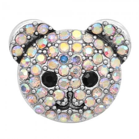 20MM design Bear head metal silver plated snap with colorful rhinestone KC9292 charms snaps jewelry