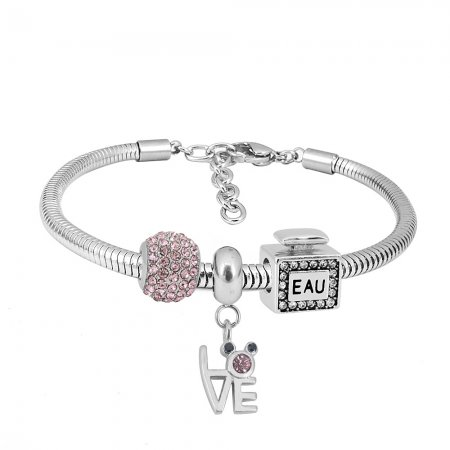 Stainless steel Charm Bracelet with 3 charms love completed cartoon
