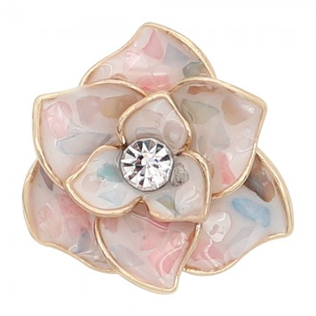 20MM snap gold Plated Multicolor shell Flowers enamel with With rhinestones KC8120 snaps jewerly