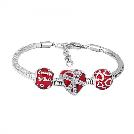 Stainless steel Charm Bracelet with red heart 3 charms completed cartoon