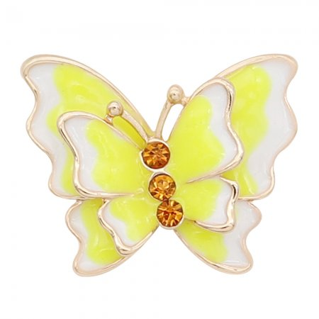 20MM snap gold Plated Butterfly Yellow enamel charms KC8117 snaps jewerly