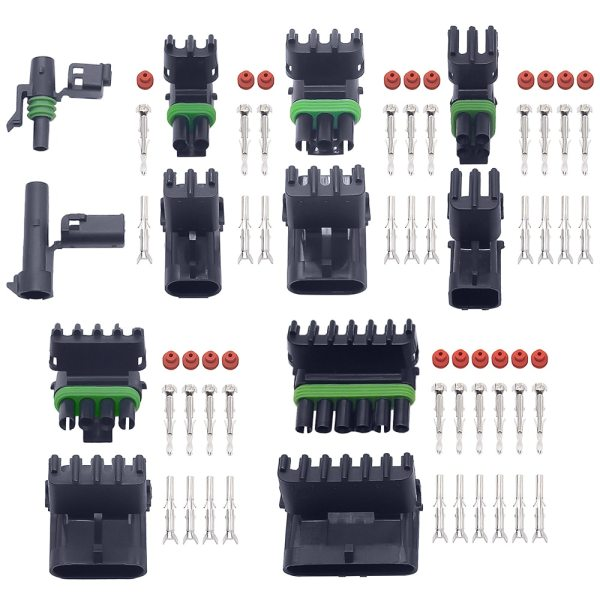 10 set 1 2 3 4 6Pin Weather pack Weatherpack  auto Waterproof Electrical Wire Cable 2 Pin Way Connector Plug  18-14 GA