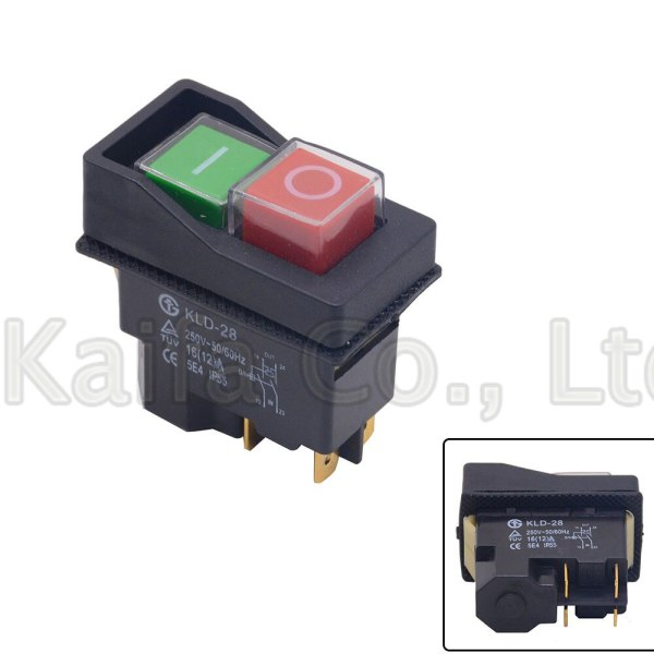 Waterproof IP55 Push Button Electromagnetic switch 4 Pin AC250V 16A MagnetIc Starter Power Tool Safety Switches for Machine tool
