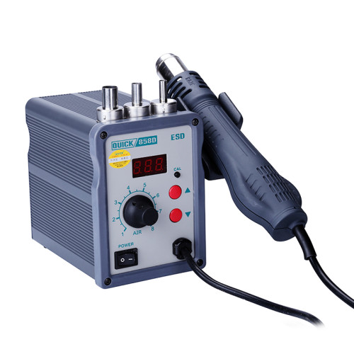Quick 858D LED Digital ESD Adjustable lead-free hot air station hot air gun with helical wind 700W air soldering station