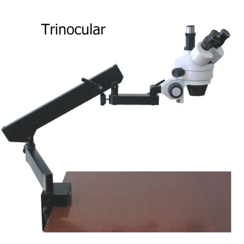 Professional Trinocular Stereo Zoom Microscope WH10x Eyepieces 3.5X-45X Magnification 0.7X-4.5X Zoom Objective Ambient Lighting Clamping Articulating Arm Stand Includes 0.5X Barlow Lens