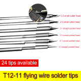 Leisto T12-11 soldering iron tips flying wire solder tips 0.1/2.0/0.3/3.5 straight/bent/pointed/cutter solder tip head
