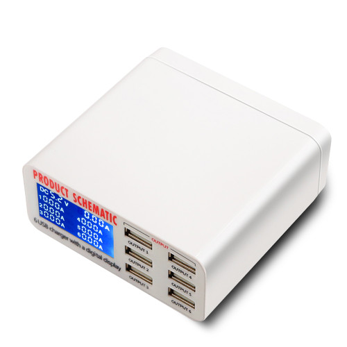 Mobile phone USB Charging Station Rapid Charger with Digital Display 6 Port   EU US UK Plug