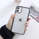 Full cover transparent cases with color side for iPhone 6-11promax two-color iPhone cases 4 side cover transparent contrast border all-inclusive protective iPhone cover cases