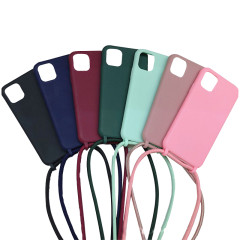 iPhone models silicone case with neck-hanging integrated rope Lanyard silicone phone case
