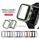 2 In 1 Apple Watch 3 2 1 38MM 40MM Full Cover Case Protective PC Case Tempered Glass Film for IWatch Series 4 5 42MM 44MM