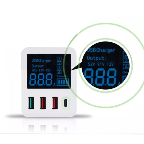 RL-312 Portable Intelligent mini QC3.0 Charger with USB Output digital display and AU EU UK Conversion Plug