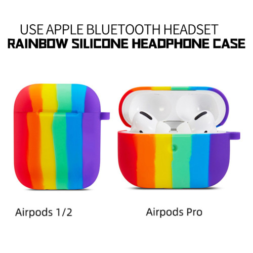 Rainbow Silicone Case for AirPods Pro Headphone Case Apple Bluetooth Headset 1/2 Generation Case