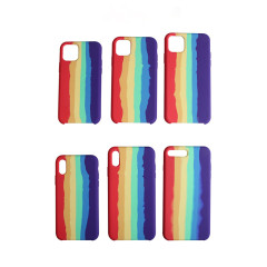 Rainbow silicone cases for Apple 11Pro iPhone 6-11promax SE rainbow liquid style silicone mobile phone case anti-fall protective case