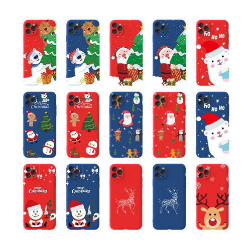 Liquid silicone mobile phone case Christmas protective cover for iphone