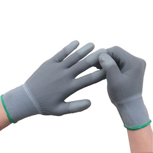 Gloves, labor insurance, wear-resistant working women, small finger head with rubber gloves, finger coated PU rubber coated palm white gloves, 12 pairs per pack for sale