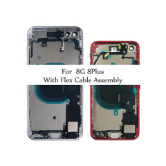 Full Housing for iPhone 8 8Plus Plus Back Glass Battery Cover Middle Frame Chassis with Flex Cable