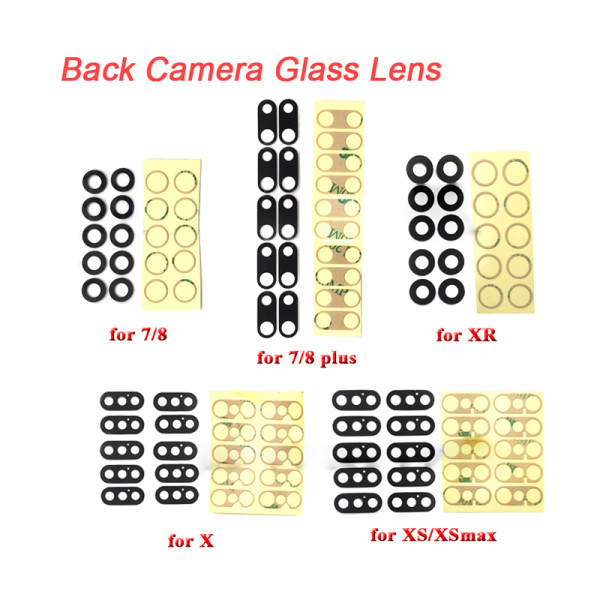 10 pcs Rear Back Camera Lens For iPhone Glass Cover with 3M Sticker Adhesive Replacement Parts