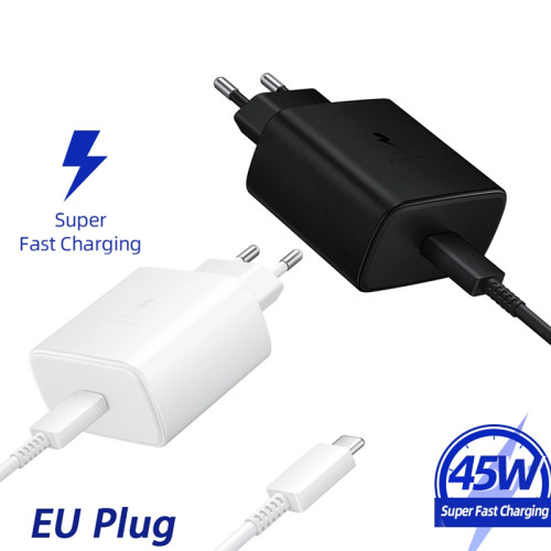 Samsung 45W USB-C Super Adaptive Fast Charge Charger  EP-TA845 For Galaxy Note 20 Ultra10 Plus S20 A71 5G A91 M51 A70 A80 EU Samsung 45W USB-C Super Adaptive Fast Charger