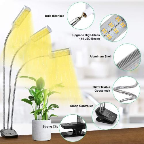 Plant Growing Lamp with 144 Full Spectrum LEDs 3 Vogek 72W LED Plant Grow Light