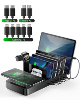 Wireless Charging Station for Multiple Devices, Vogek 5 USB Ports 8 in 1 Charging Dock Station with 10W Max Wireless Charger for Apple iWatch/AirPods/iPhone/iPad/Samsung/Android/Tablets