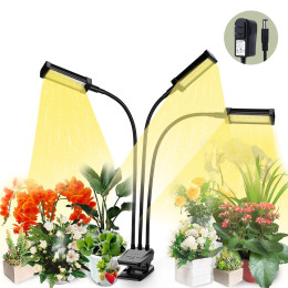 Plant Grow Light, VOGEK LED Growing Light Full Spectrum for Indoor Plants with Timer, Plant Growing Lamps for Seedlings with Adjustable Gooseneck & Desk Clip On, 3 Switch Modes 10 Brightness Settings-Black