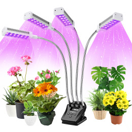 Plant Grow Light, VOGEK LED Grow Lights with LCD Display Timer, Grow Lamps Red & Blue Spectrum for Indoor Plants withTable Clip, 4 Switch Modes, 10 Brightness Setting