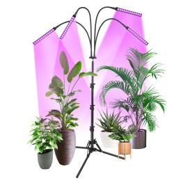 Grow Light with Stand, VOGEK LED Grow Lights for Indoor Plants, Smart Red and Blue Spectrum Grow Lamp Stand with Timer for Seedling, Auto ON/Off, Adjustable Tripod Stand & Gooseneck