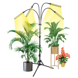 Grow Light with Stand, VOGEK LED Floor Grow Lights for Indoor Plants, Smart Sunlike Full Spectrum Grow Lamp with Timer for Seedling, Auto ON/Off, Adjustable Stand & Gooseneck