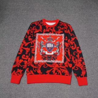 Versace autumn and winter new full-print red leaf crown cotton round neck sweater
