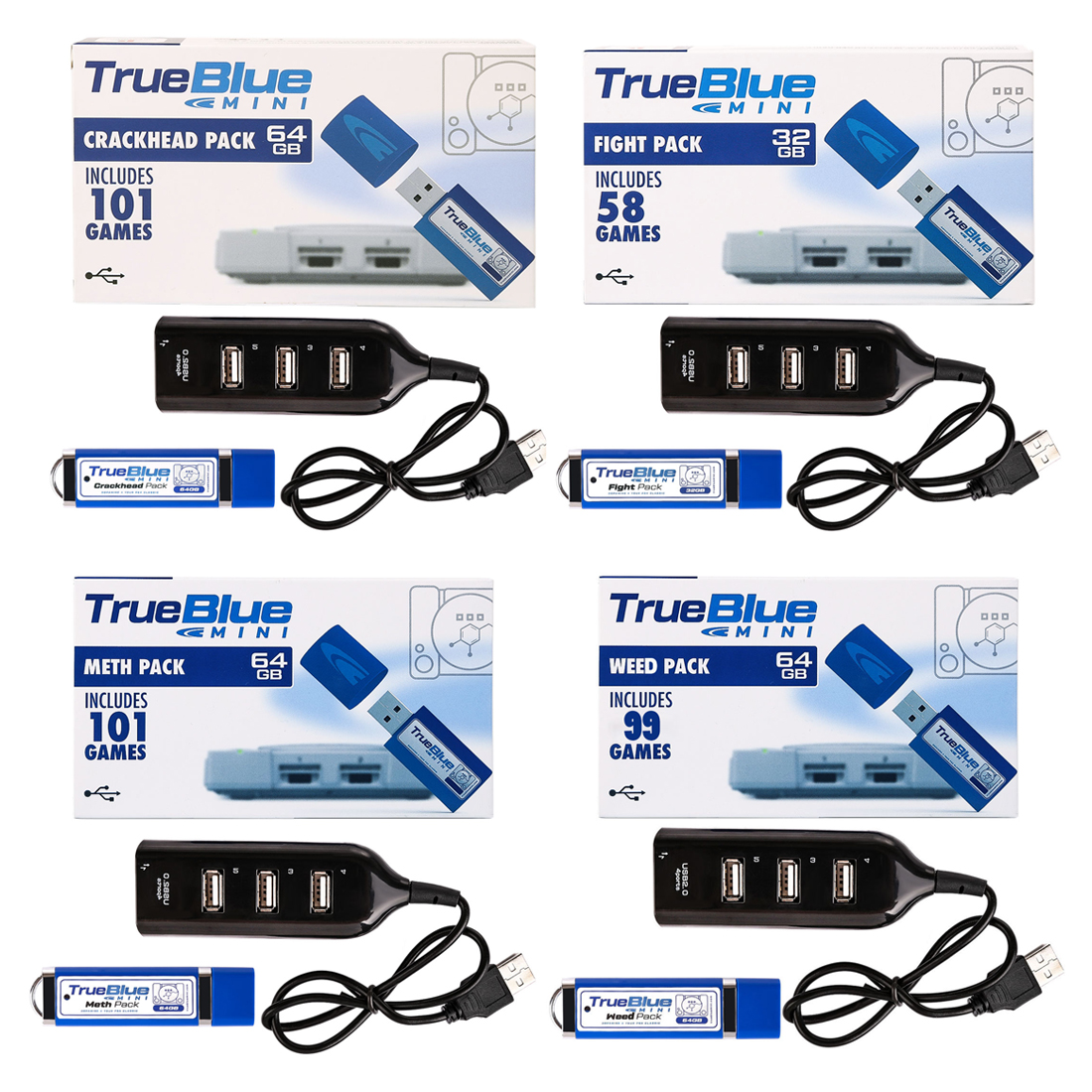 4-Pack True Blue Mini USB Sticks for Playstation Classic (Crackhead Pack + Meth Pack + Fight Pack + Weed Pack) Christmas Gift