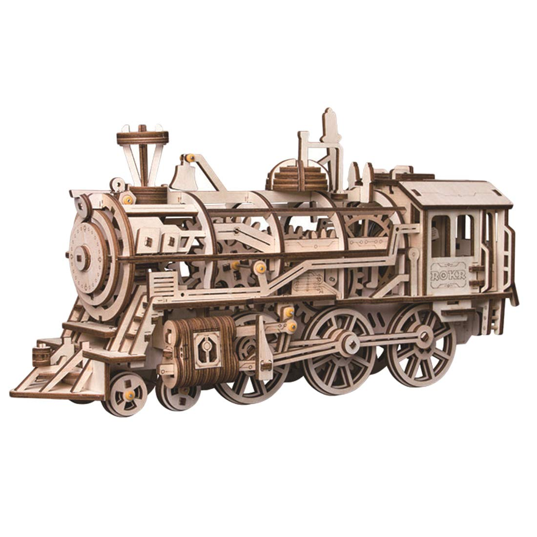 Locomotive Assembly 3-D Puzzles Wooden Craft DIY Kits Brain Teaser Building Toys