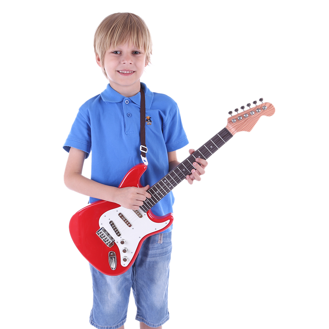 26-Inch Kids Guitar 6 String with Strap Musical Instruments Electic Guitar Toy (Red)