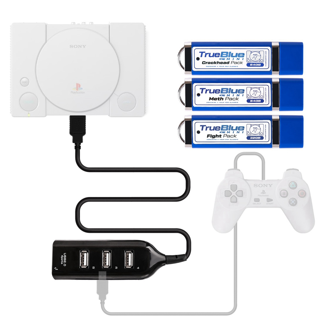 Crackhead Pack /Meth Pack /Fight Pack True Blue Mini USB Stick with 4-Port Hub for PlayStation Classic (Plug and Play)