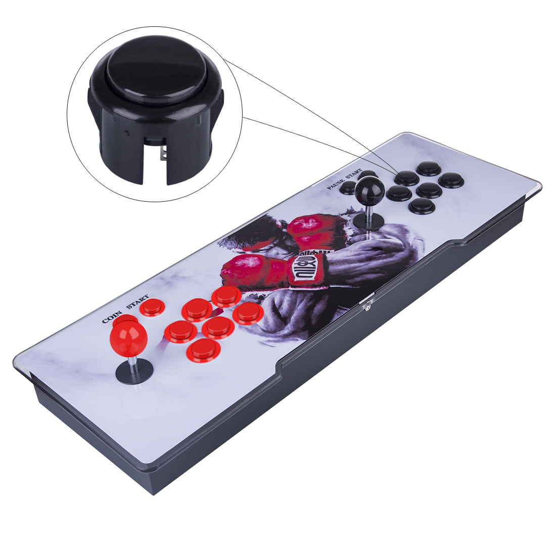 3003-in-1 Video Arcade Games Console Double Stick Home Fight Games Machine - Red Dragon Version