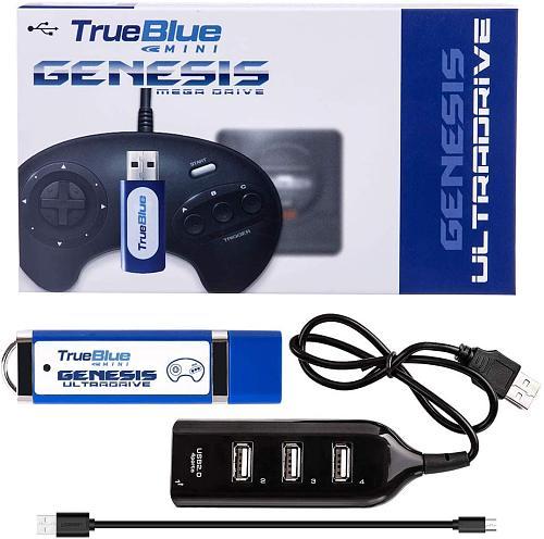 Ultradrive Pack 813 Games True Blue Mini USB Stick with 4-Port Hub for Sega Genesis /Mega Drive Mini