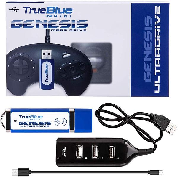 Ultradrive Pack 813 Games True Blue Mini USB Stick with 4-Port Hub for Sega Genesis /Mega Drive Mini