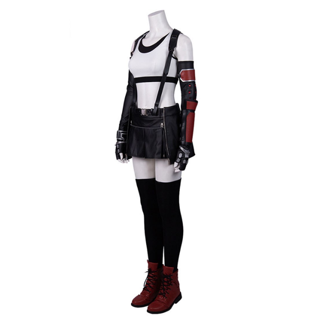 Final Fantasy VII Remake Tifa Cosplay Costume Vest Leather Pants Boxing Gloves Full Set with Shoes