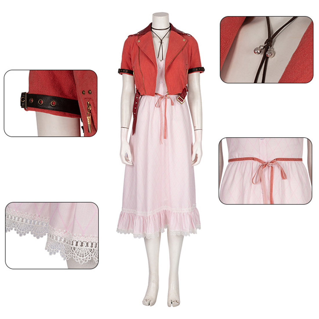 Final Fantasy VII Remake Aerith Dress Cosplay Costume Full Set