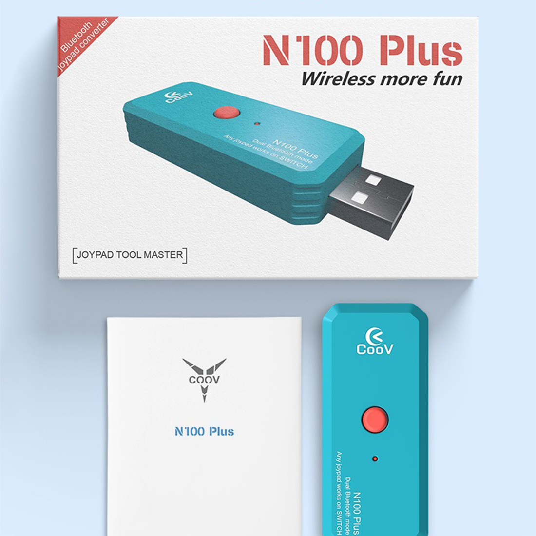 N100 PLUS Portable USB Wireless Adapter Converter with OTG Cable for PS3 / PS4 / Switch Pro - Sky-blue (Random OTG Cable Color)