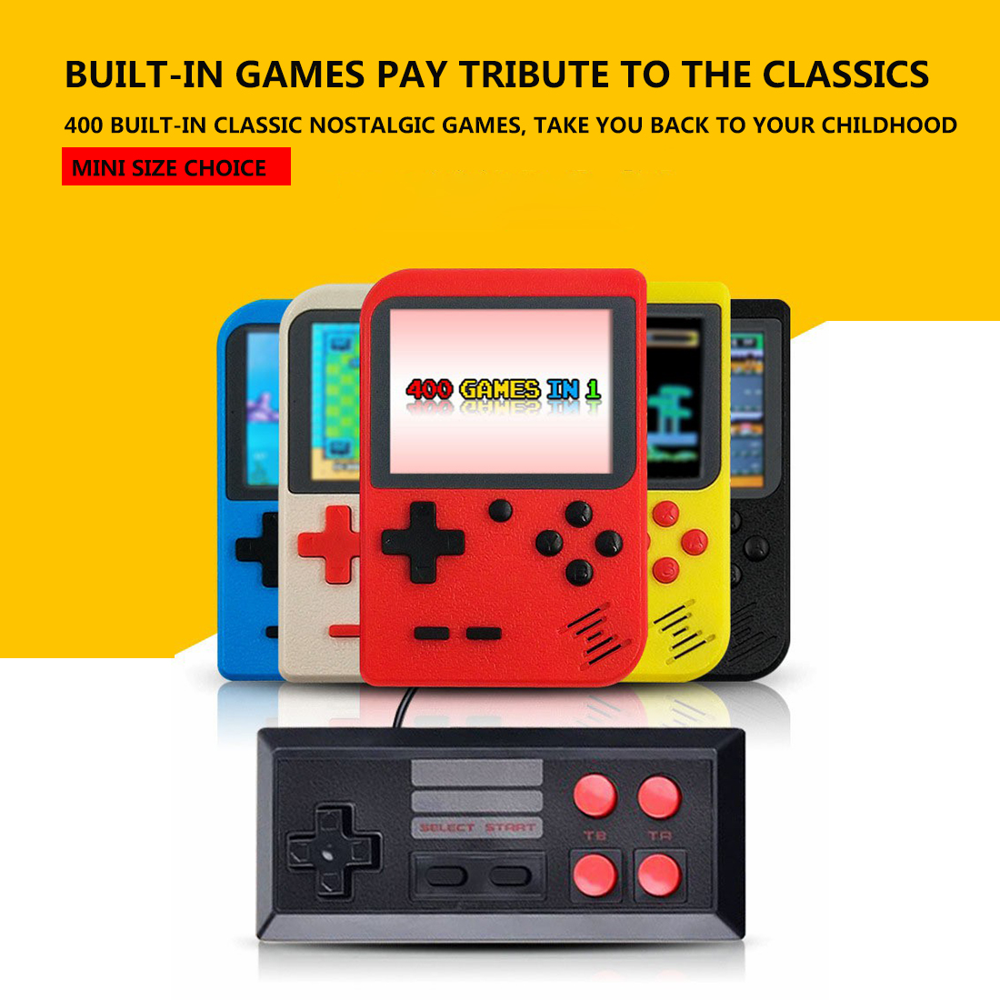 Handheld Game Console Retro Mini Game Player with 400 Classical FC Games 2.8-Inch Color Screen Support for Connecting TV & Two Players (Upgraded Version)