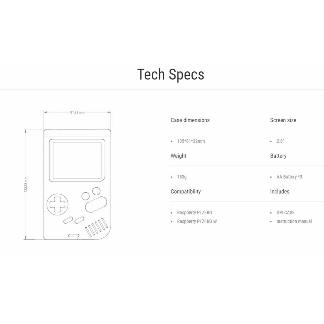 2.8 Inches Screen Retroflag GPi Case Handheld Game Shell for Raspberry Pi Zero W