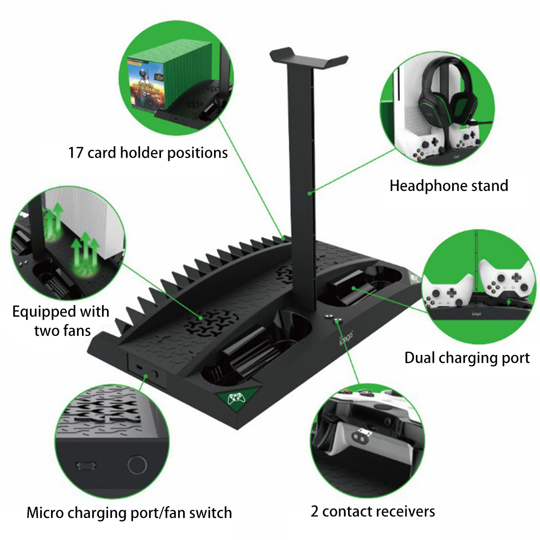 6-in-1 Vertical Stand Cooler Cooling Fan with Disc Rack for XBOX ONE/S/X