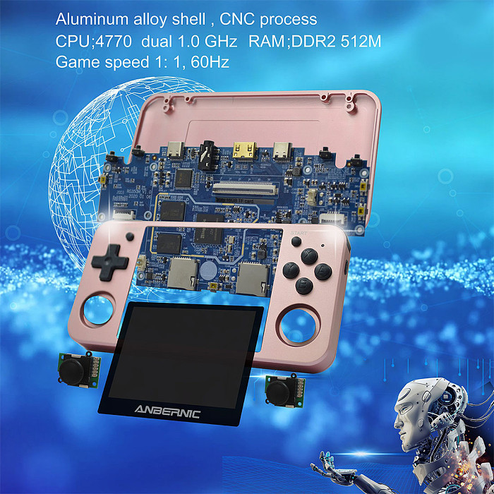 Anbernic RG350M Handheld Metal Version Game Console IPS Screen 3.5-Inch (16GB + 64GB 15000 Games)