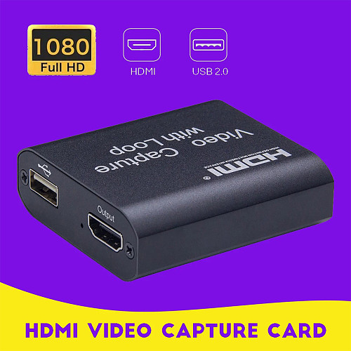1080P USB 2.0 HD Video Capture Box for Xbox /PS4 /Camera /PC /Laptop /Game Live Streaming Broadcast