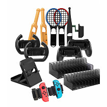 14-In-1 Sports Set with Bracket Grip Steering Wheel Tennis Racket Taiko Stick Wristband Dish Holder for Switch
