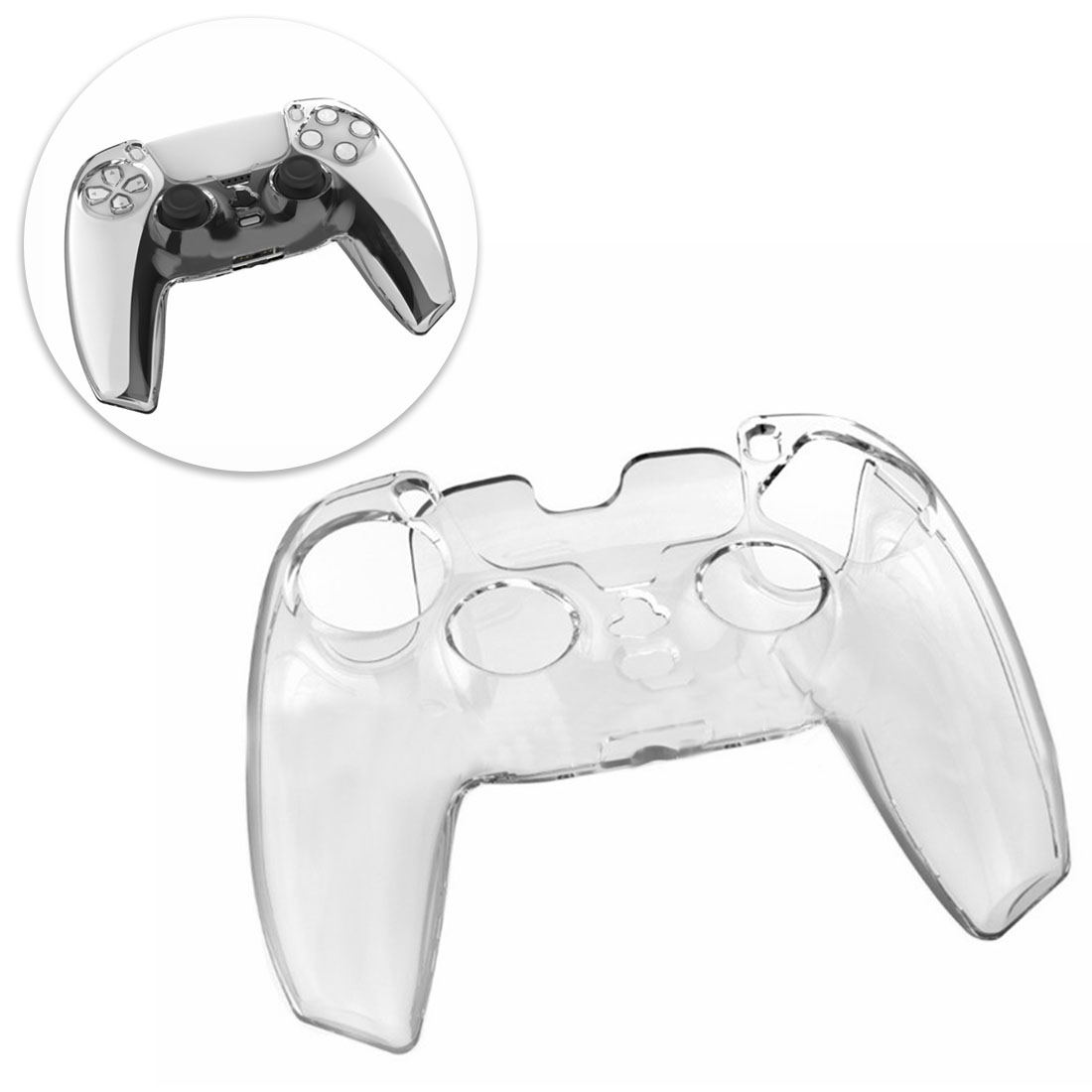 PC Gamepad Case Anti-Slip Protective Cover for PS5 Controller (Transparent)